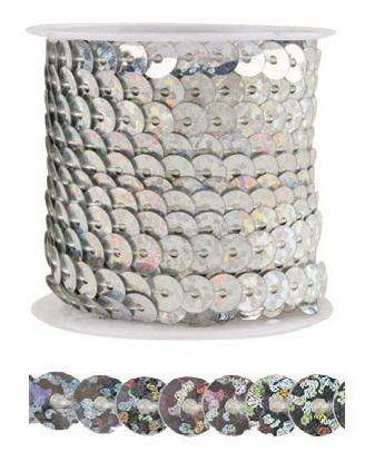 Dekorační flitry 5mm vázané 3m Barva: stříbrná