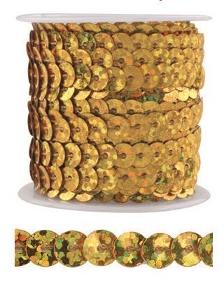 Dekorační flitry 5mm vázané 3m Barva: zlatá