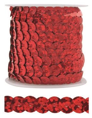 Dekorační flitry 5mm vázané 3m Barva: červená