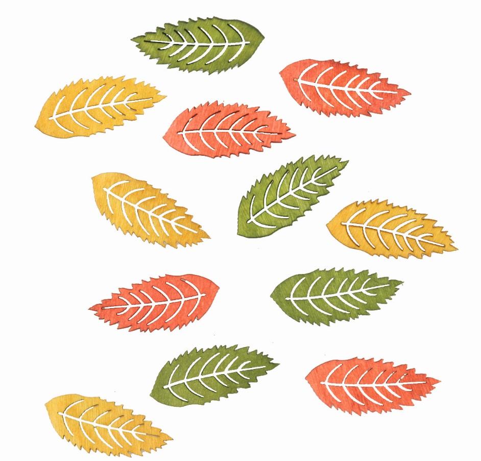 Anděl Přerov Dřevěné listy barevné 4cm 12ks