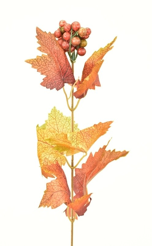 Podzimní větvička s bobulkami 37cm Barva: červená
