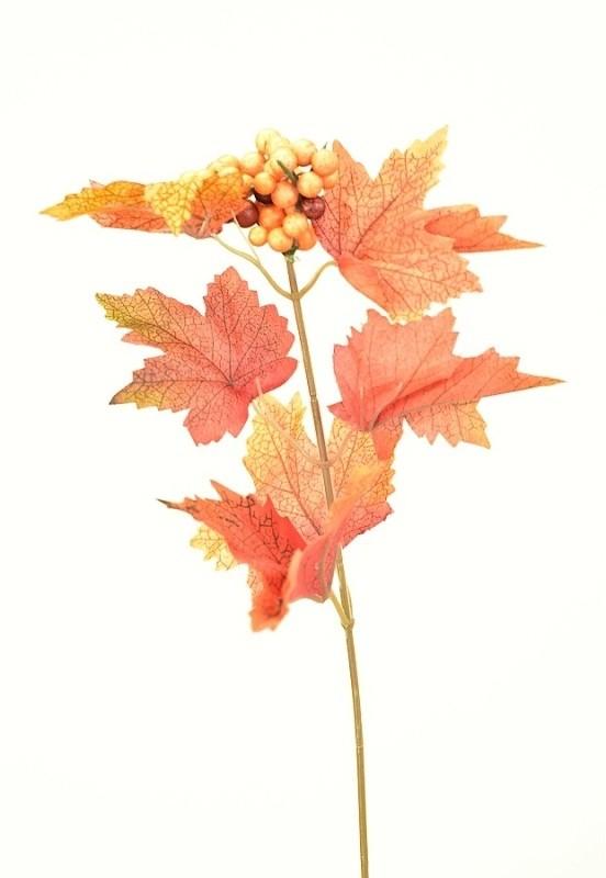 Podzimní větvička s bobulkami 37cm Barva: oranžová