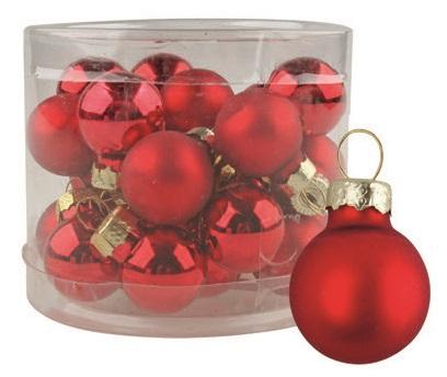 Anděl Přerov Vánoční ozdoby červené skleněné 12ks 2cm