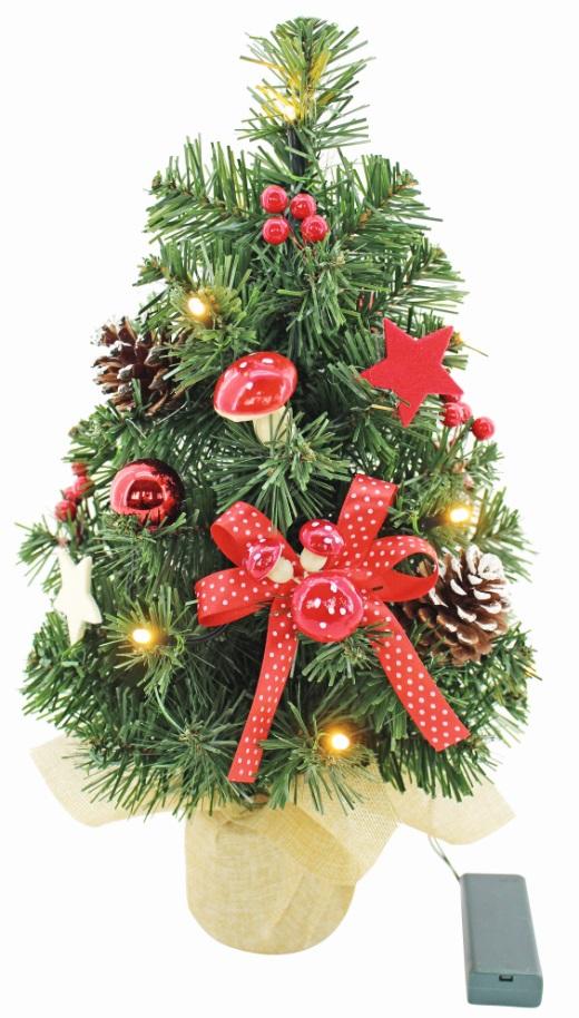 Anděl Přerov Umělý stromek vánoční s mašlí a LED osvětlením 40cm