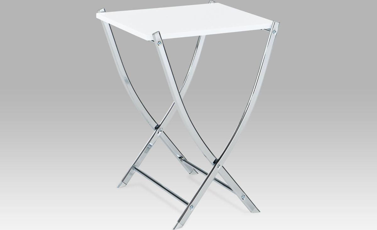 Sklápěcí stolek bílý | chromová konstrukce