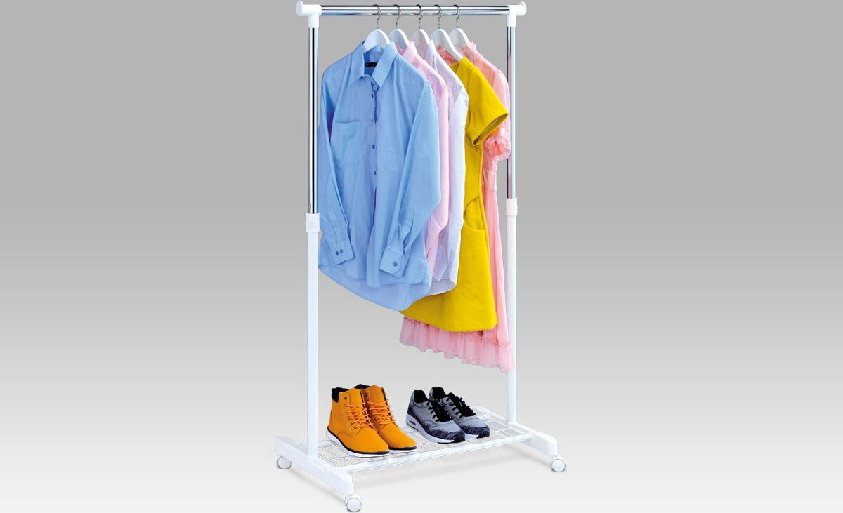 Artium Stojan na šaty s odkladačem na boty chrom / bílá