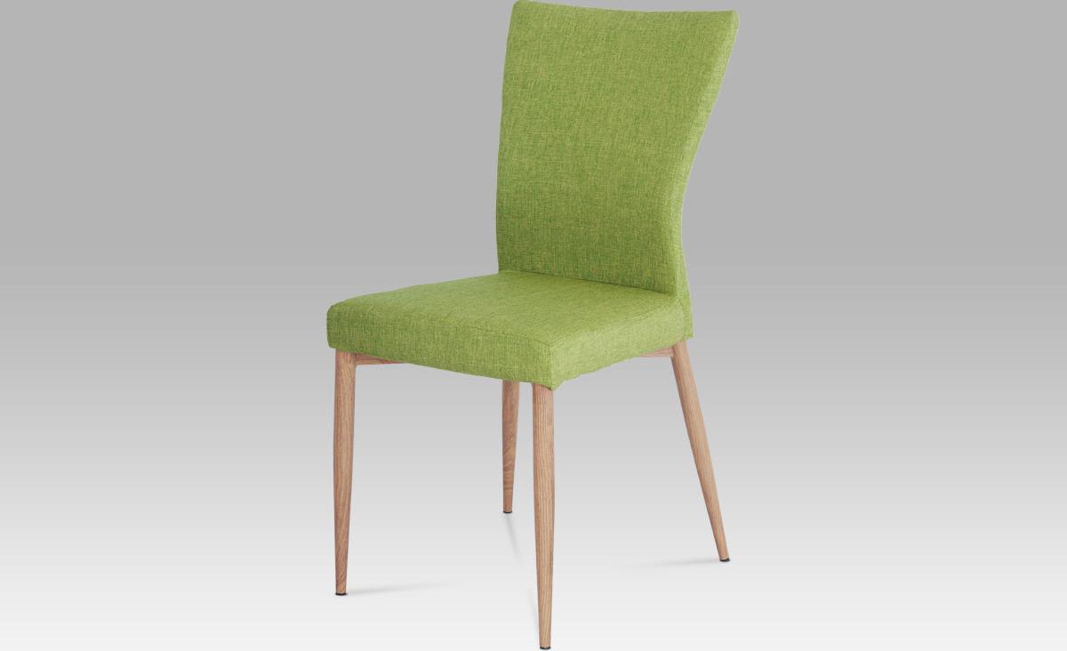 Jídelní židle | látka zelená | nohy kov dekor dub