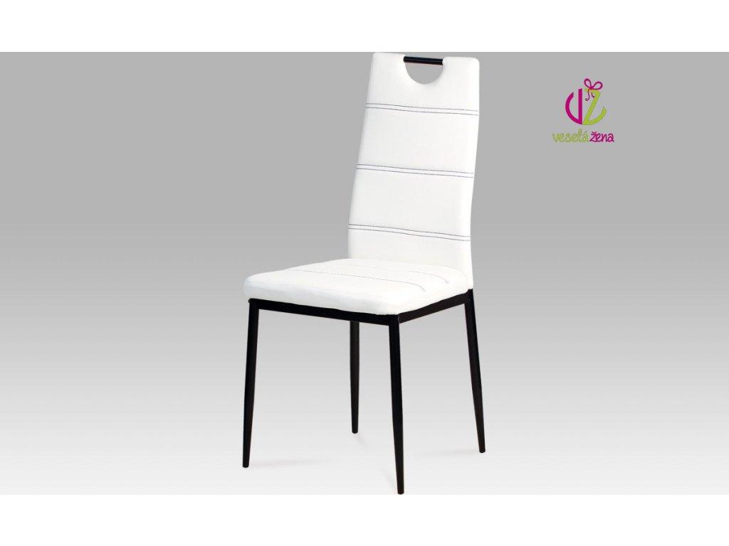 Jídelní židle koženková 43x41x97x48cm Barva: bílá