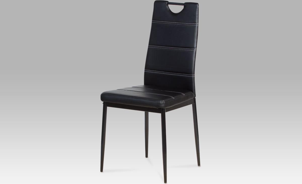 Jídelní židle koženková 43x41x97x48cm Barva: černá
