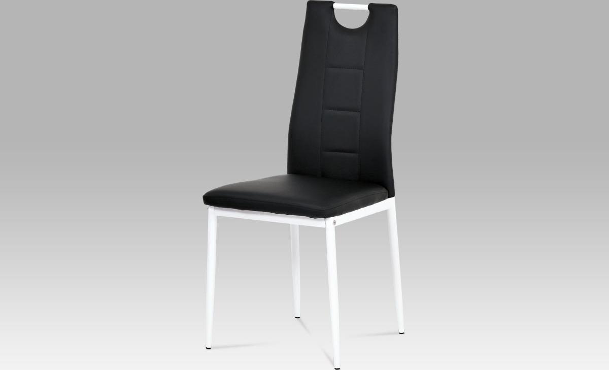 Jídelní židle koženka černá / bílý lak