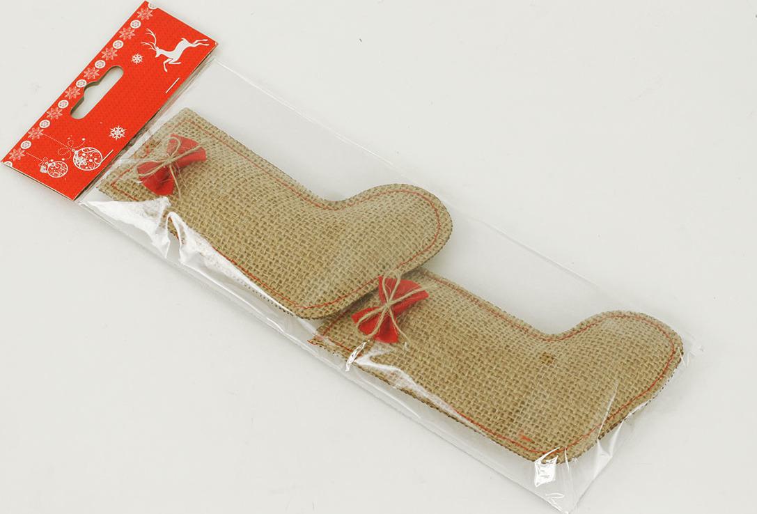 Vánoční dekorace ponožky z juty
