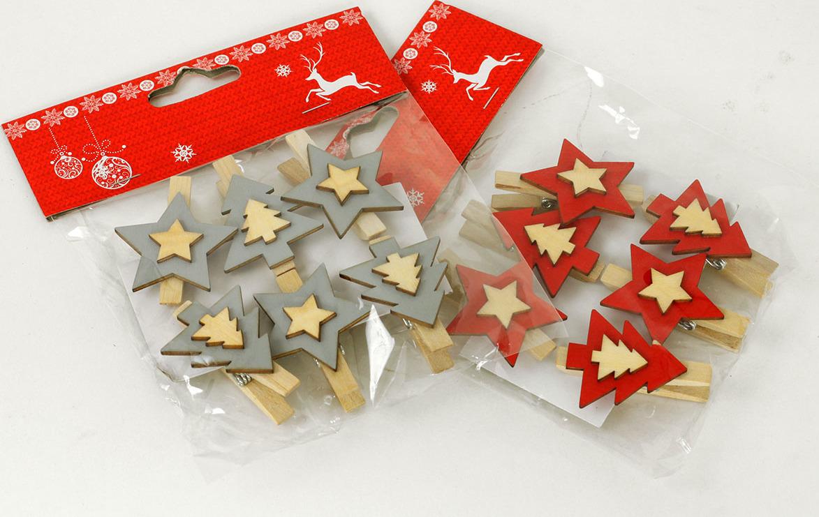 Artium Vánoční dřevěná dekorace na kolíčku Barva: červená