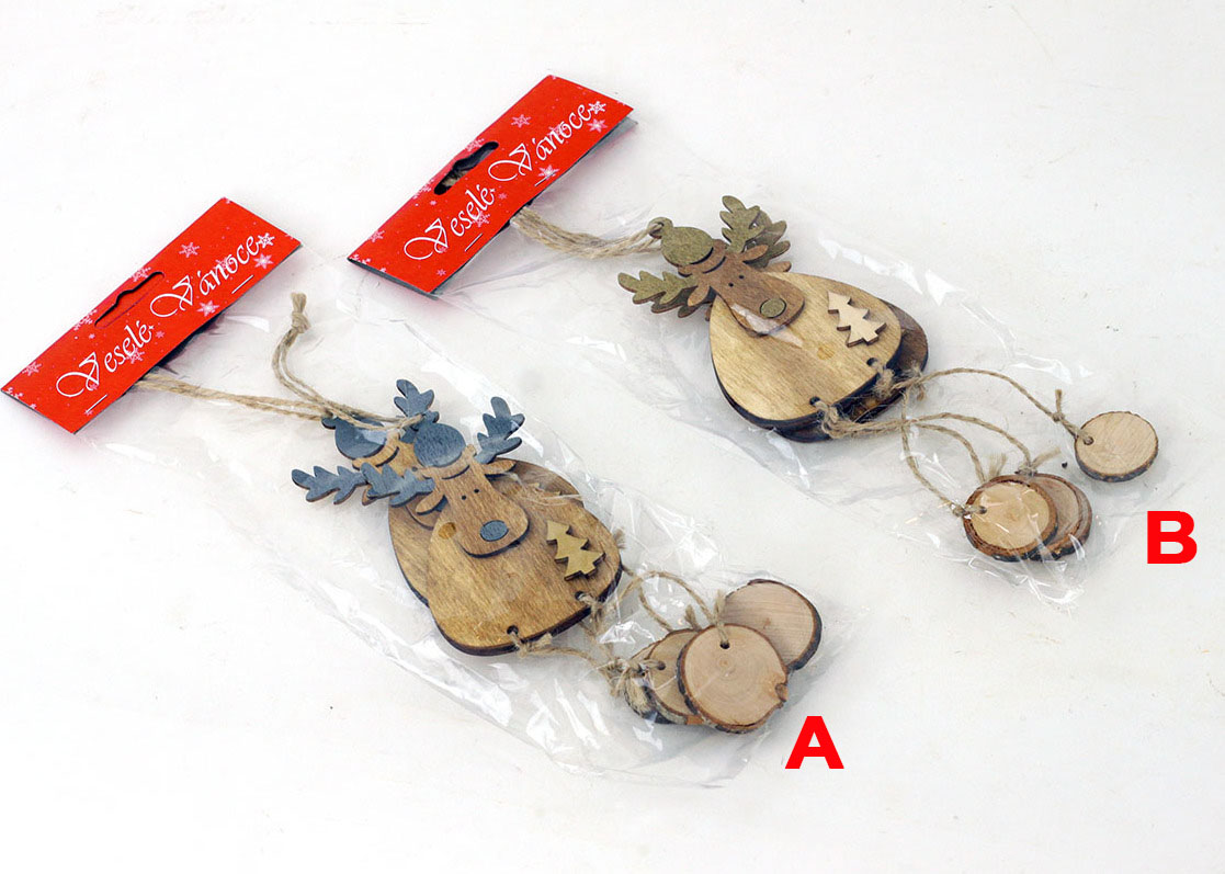 Artium Vánoční dřevěná dekorace soba na zavěšení Provedení: A
