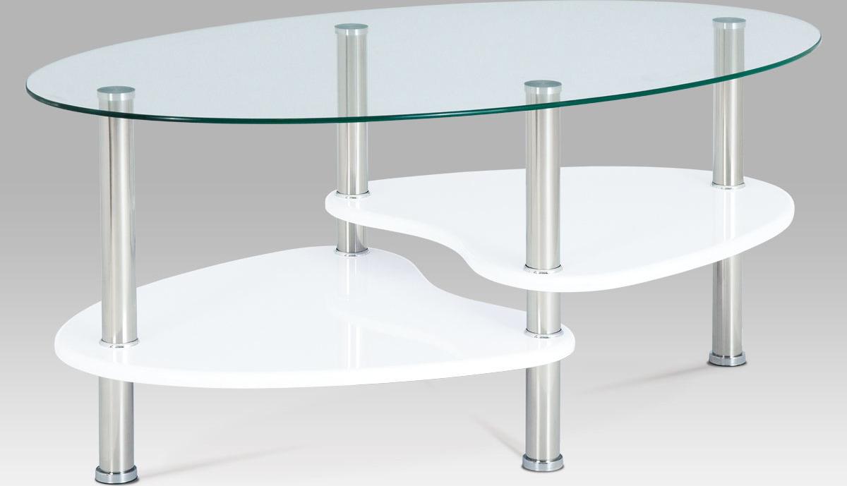 Artium Konferenční stolek skleněný | police vysoký lesk bílý | konstrukce leštěný nerez