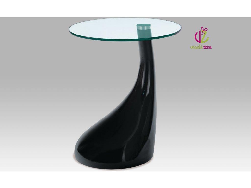 Odkládací stolek plastový | skleněná deska | 45x53cm Barva: černá