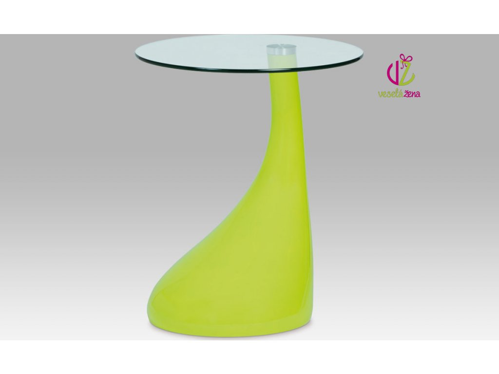Odkládací stolek plastový | skleněná deska | 45x53cm Barva: zelená