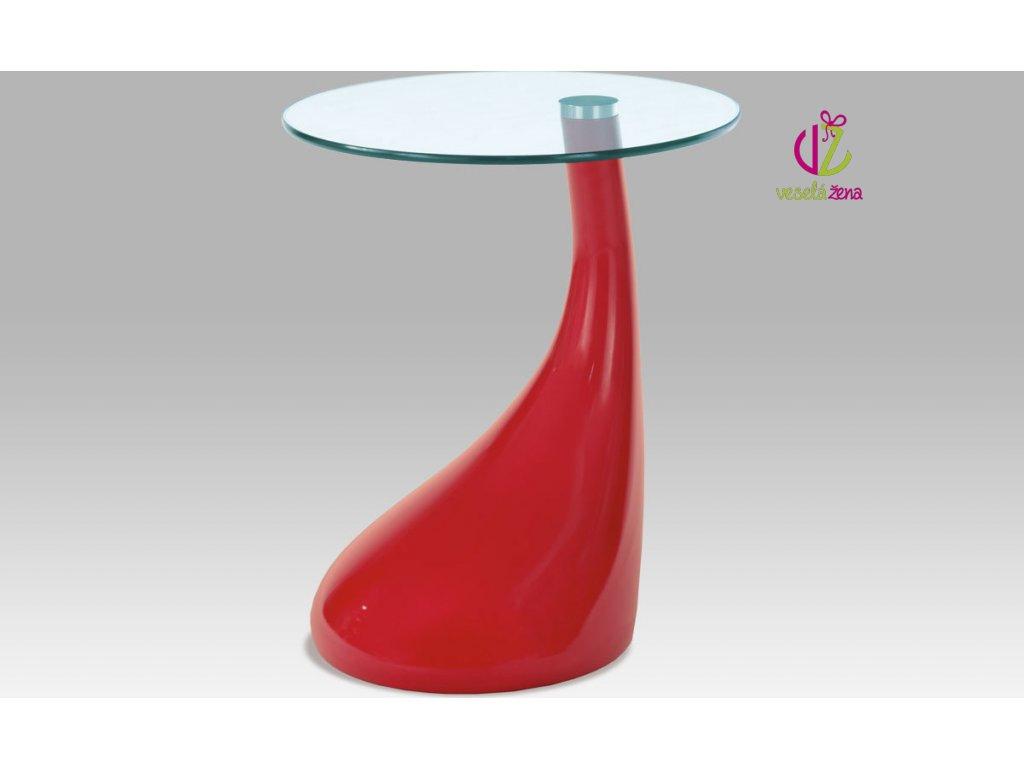 Odkládací stolek plastový | skleněná deska | 45x53cm Barva: červená