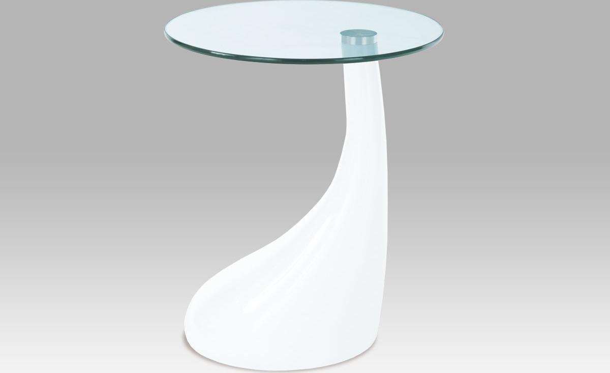 Odkládací stolek plastový | skleněná deska | 45x53cm Barva: bílá