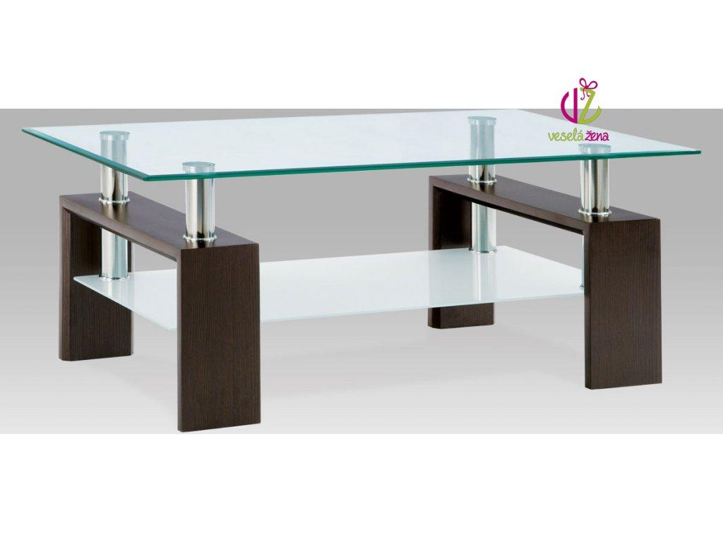 Konferenční stolek skleněný | 110x60x45cm Barva: ořech