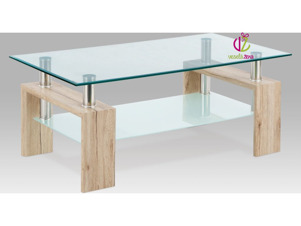 Konferenční stolek skleněný | 110x60x45cm Barva: dub