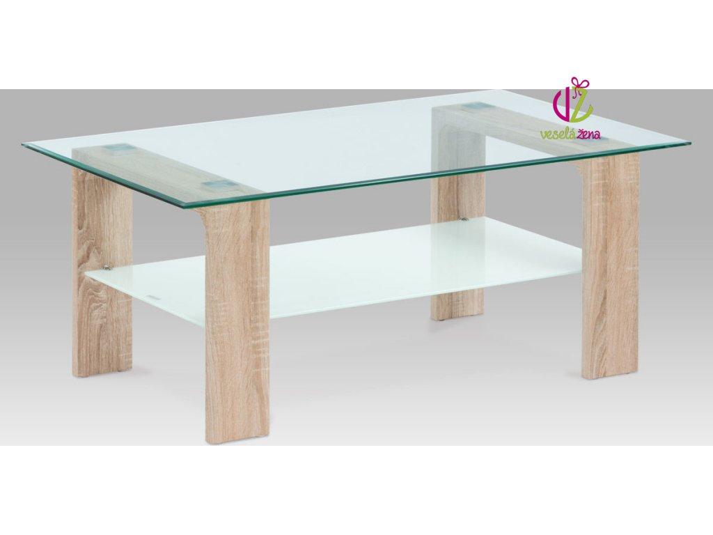 Konferenční stolek skleněný | 110x65x45cm Barva: dub