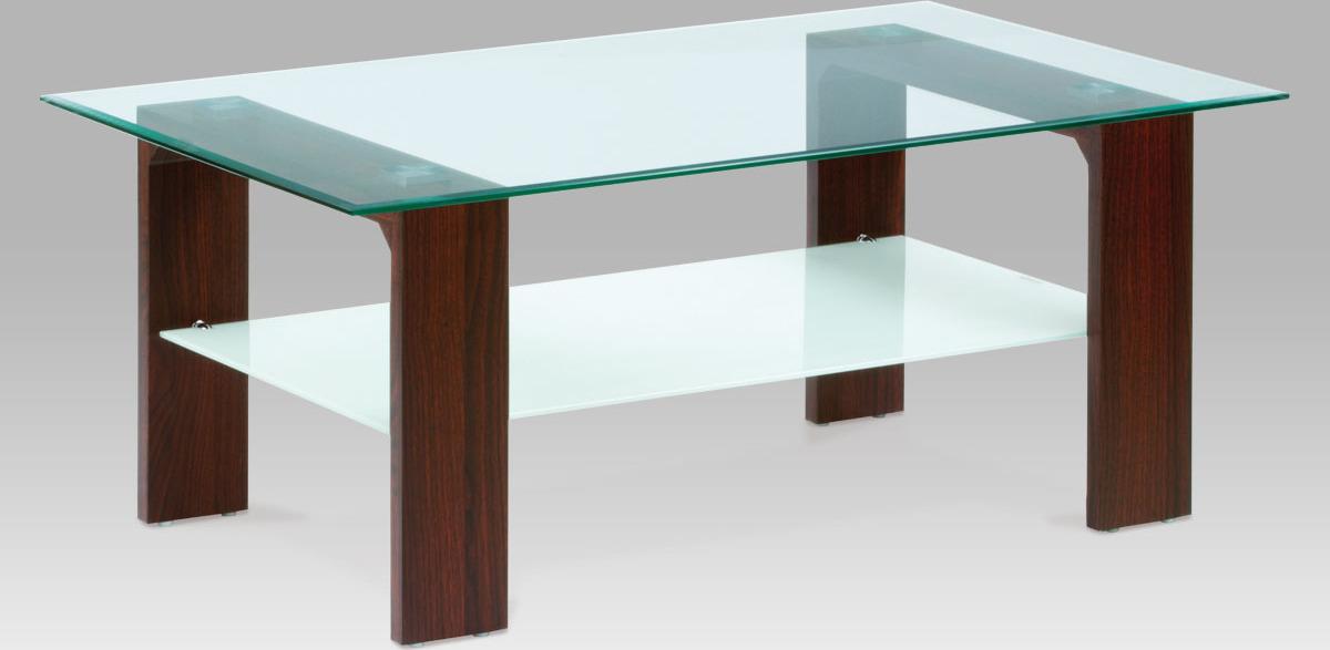 Konferenční stolek skleněný | 110x65x45cm Barva: ořech