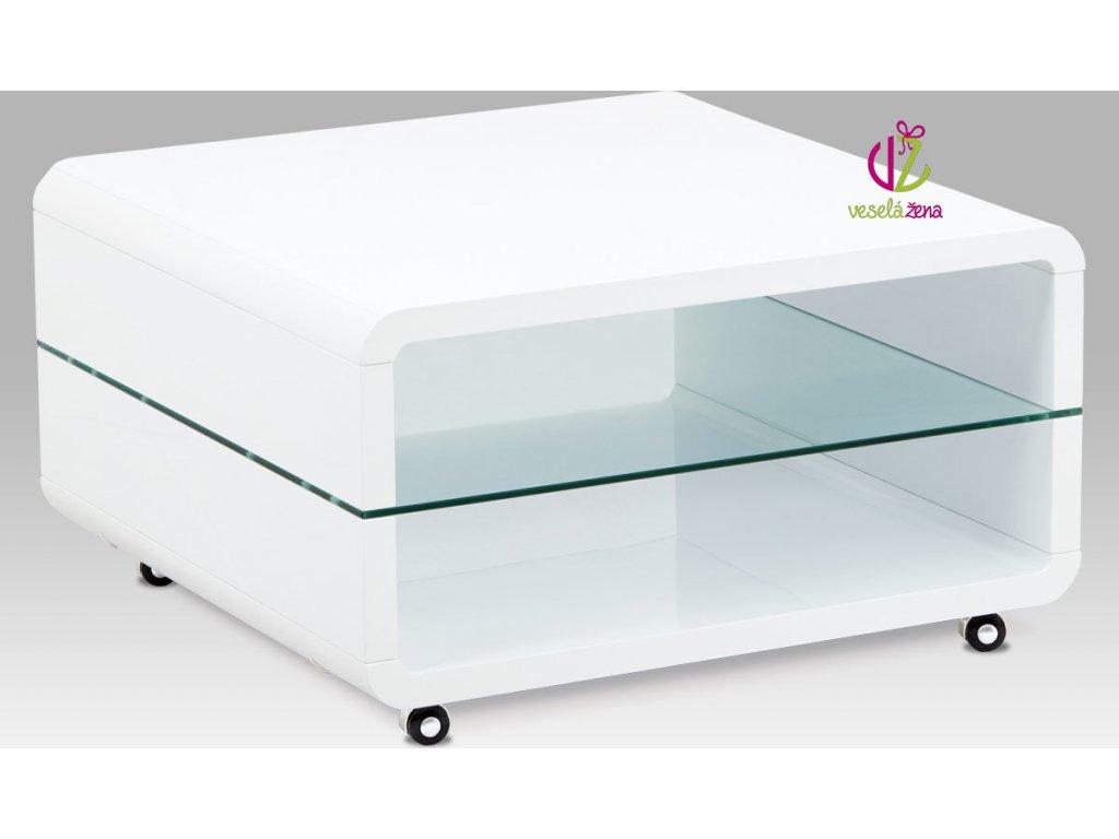 Konferenční stolek bílý pojízdný | skleněná police Velikost: menší