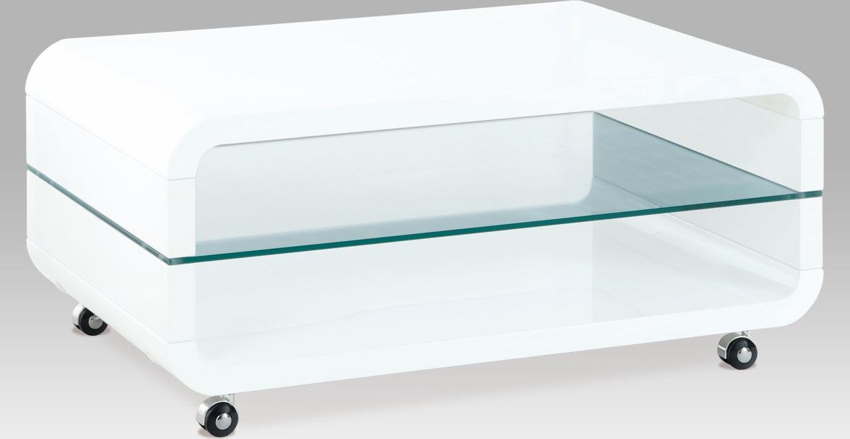 Konferenční stolek bílý pojízdný | skleněná police Velikost: větší