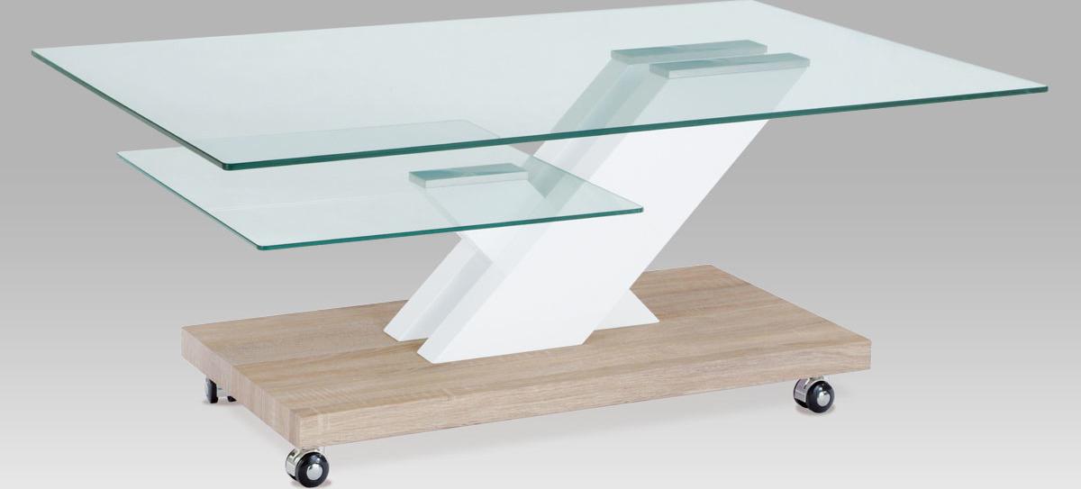 Konferenční stolek skleněný pojízdný
