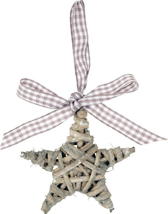 Artium Proutěná hvězda s mašlí 7cm Barva: šedá