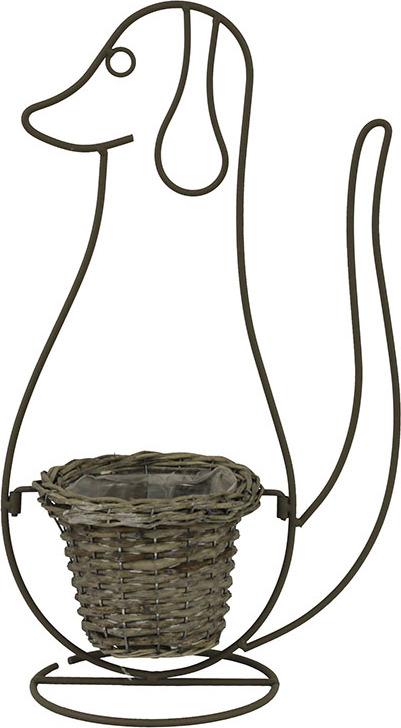 Proutěný obal na kovovém stojanu pes 18,5x27x52,5cm