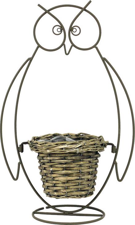 Proutěný košík v kovovém stojanu ve tvaru sovy