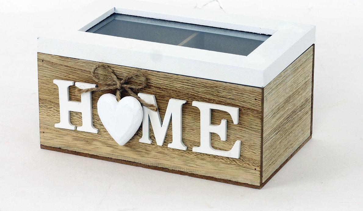 Krabička na čajové sáčky - dřevěná - Home Velikost: menší