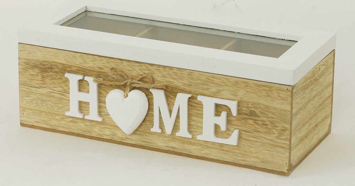 Krabička na čajové sáčky - dřevěná - Home Velikost: větší