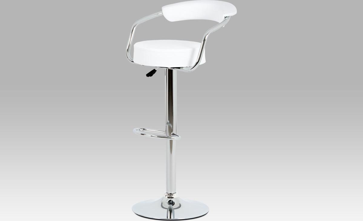Barová židle koženková 52x50x103x83cm Barva: bílá