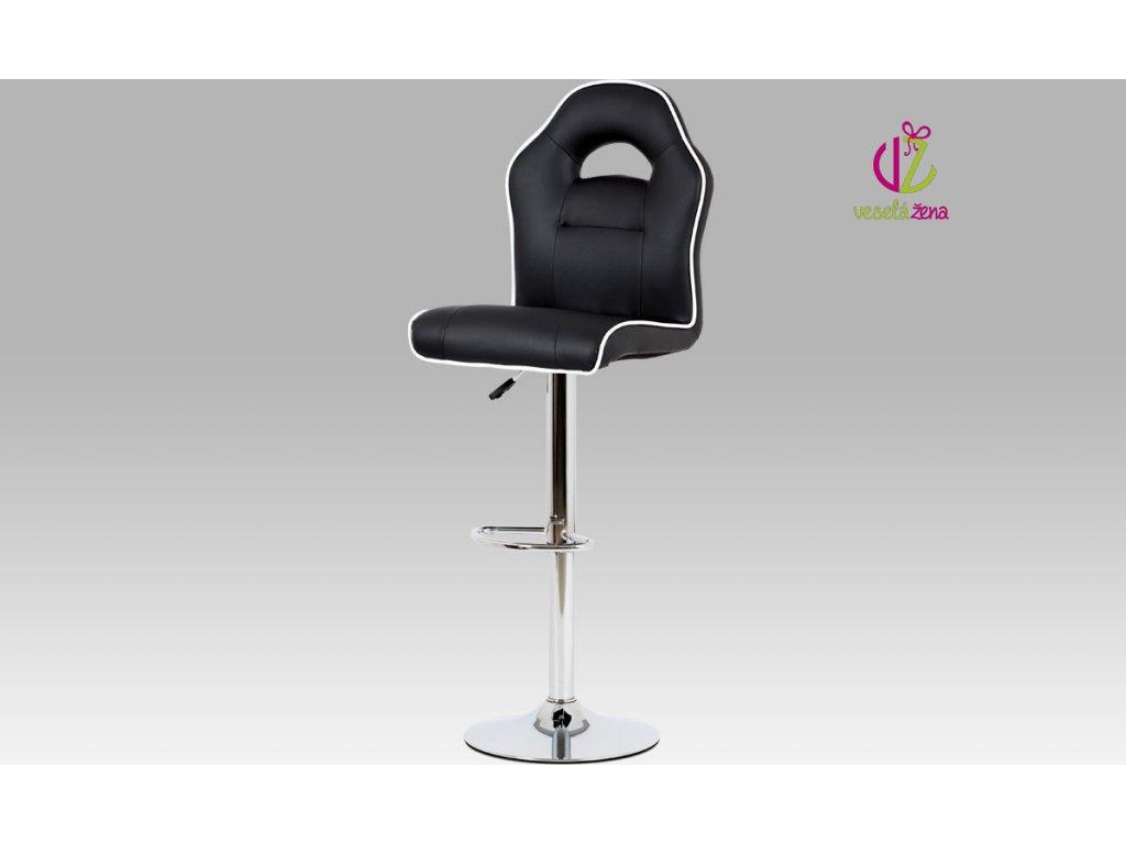 Barová židle koženková 43x38x128x84cm Barva: černá
