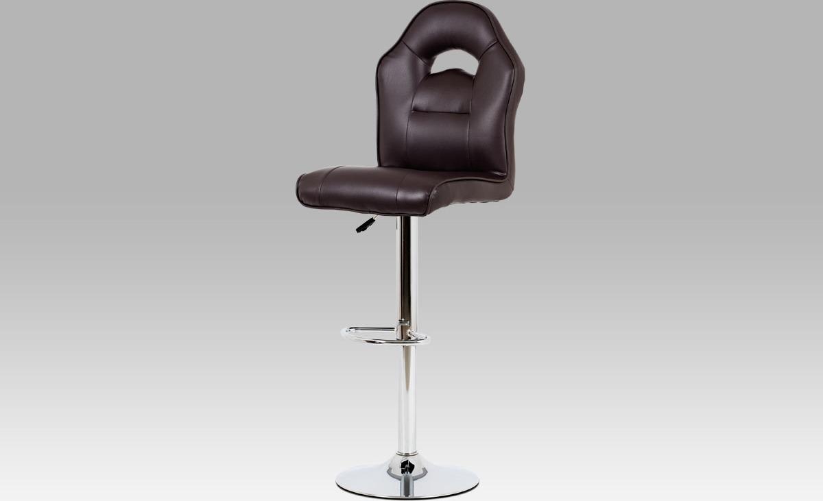 Barová židle koženková 43x38x128x84cm Barva: hnědá