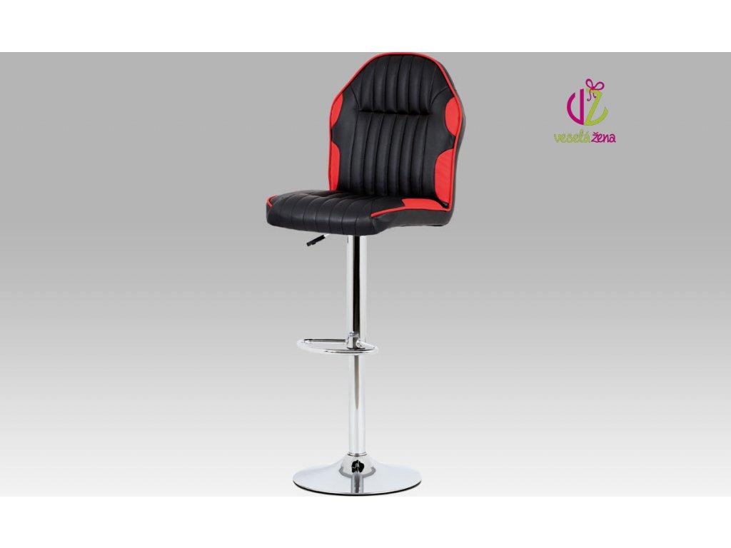 Barová židle koženková 44x38x127x85cm Barva: červená