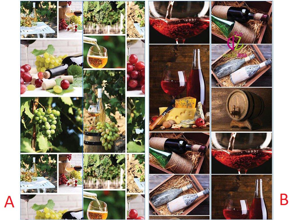 Papírová taška na víno obrázková Provedení: A