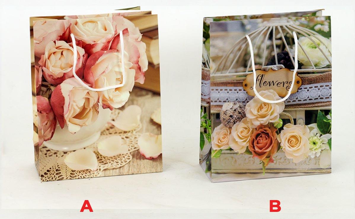 Artium Papírová taška střední   Flowers  19x8x23cm Provedení: A