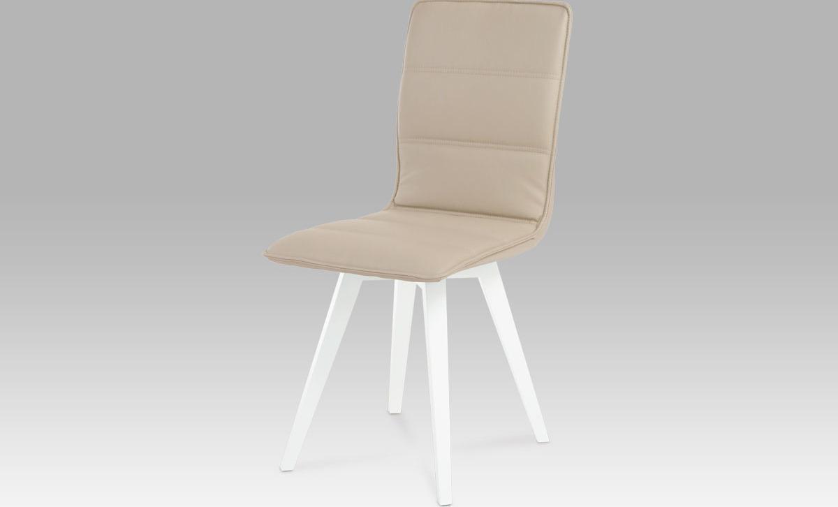 Artium Jídelní židle koženka   vysoký lesk bílý Barva: cappuccino