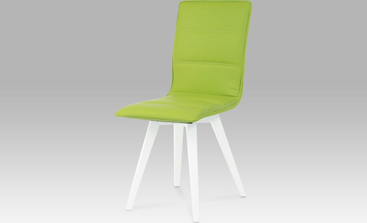 Artium Jídelní židle koženka   vysoký lesk bílý Barva: zelená