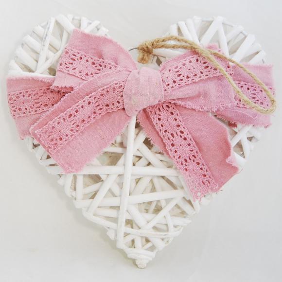 Bílé proutěné srdce s růžovou mašlí 19x19x4 cm