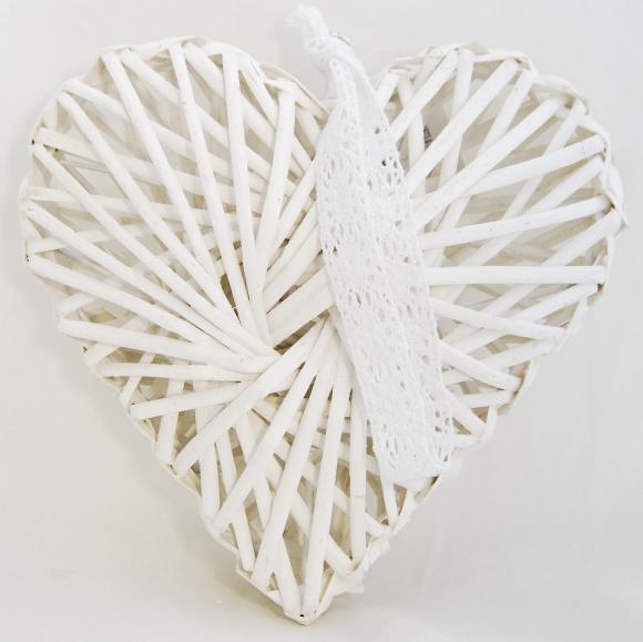 Bílé proutěné srdce s krajkovou mašlí 20x20x6 cm