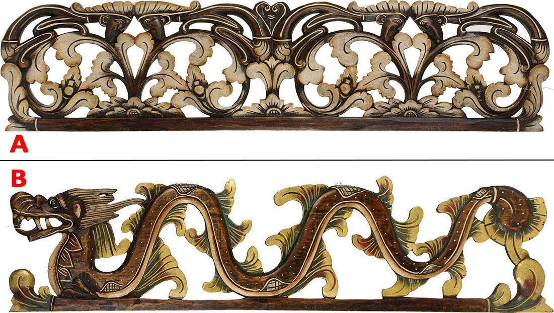 Dřevořezba na zeď s ornamenty Provedení: A