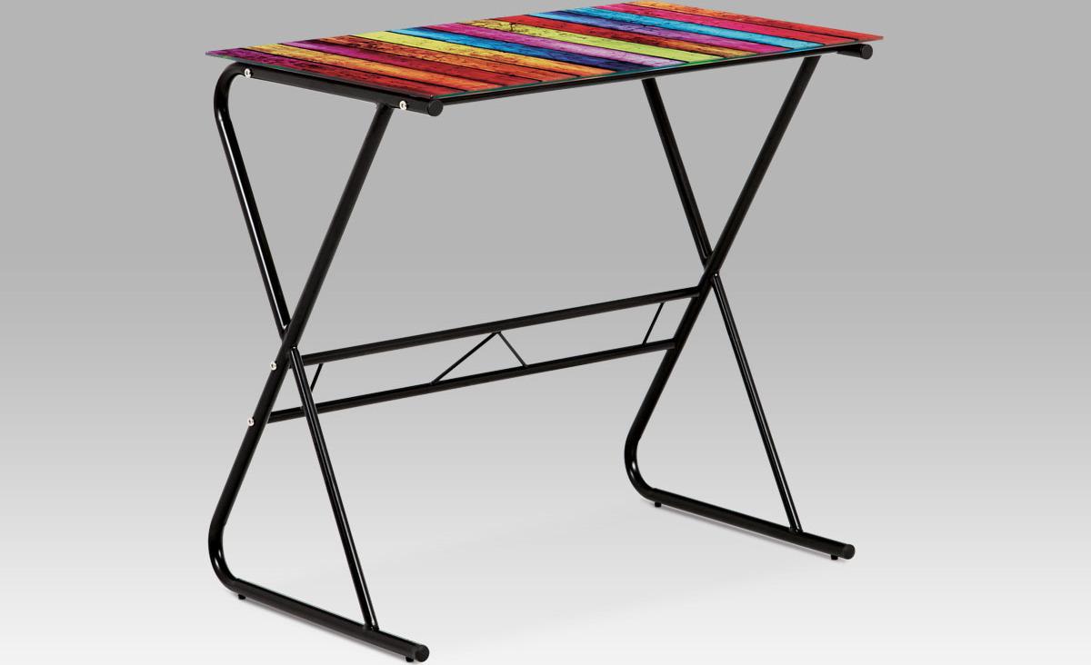 PC stolek   kovová konstrukce   barevná vrchní deska