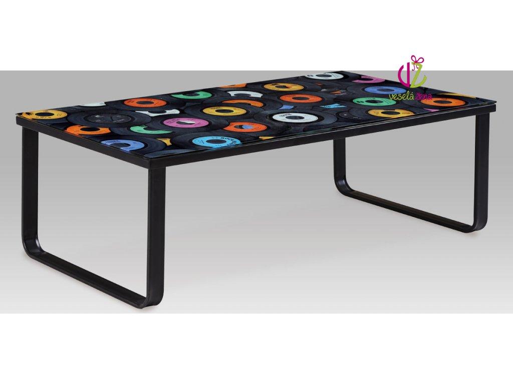 Konferenční stolek skleněný s potiskem Provedení: C