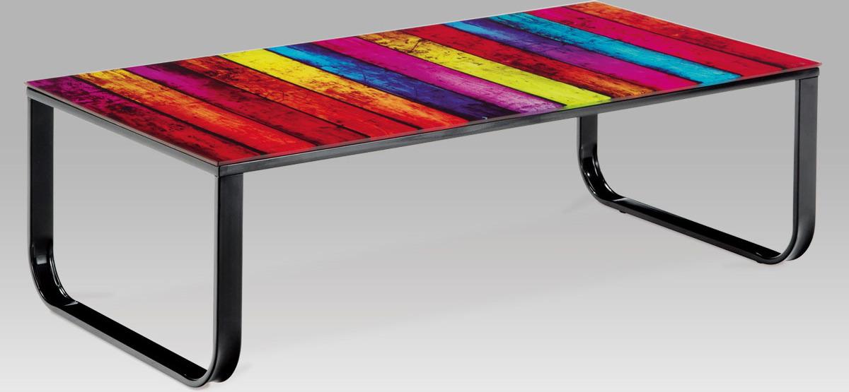 Konferenční stolek skleněný s potiskem Provedení: A