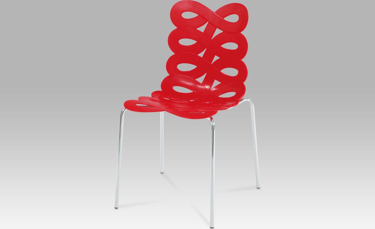 Jídelní židle | plast Barva: červená