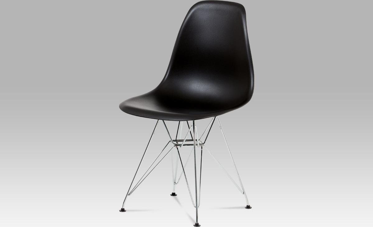 Jídelní židle, plast černý / chrom